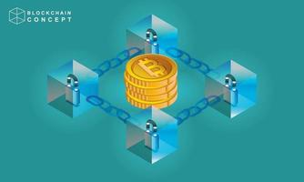 Concept of Block chain technology data analysis for investors vector