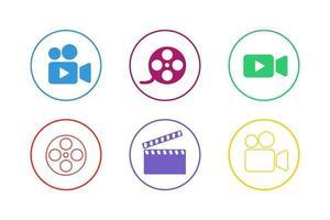 conjunto de iconos de película colorida vector