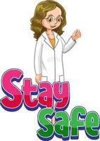 manténgase fuente segura con un personaje de dibujos animados de mujer médico aislado vector