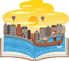Open book with an old couple in the Gondola vector
