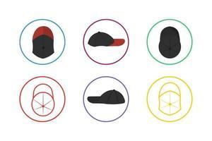 Colorful Caps Icon Set vector
