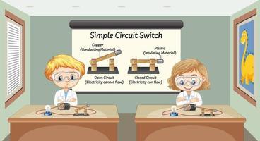científico que explica el interruptor de circuito simple vector