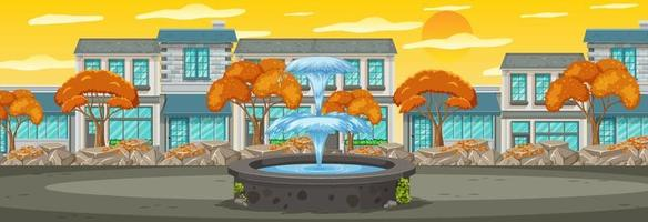Many buildings along the park horizontal scene at sunset time vector