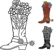 Cowboy boots with flowers vector