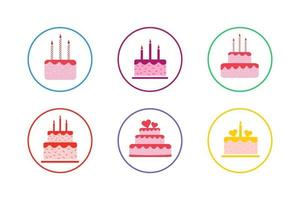 Colorful Cake Icon Set vector