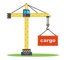 construction crane lifts a red container with goods loading a container for transportation flat vector illustration