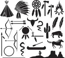 native american indian icons vector