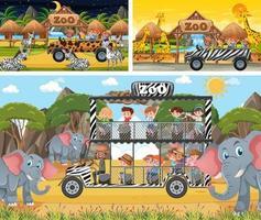 Diferentes escenas de safari con animales y personajes de dibujos animados para niños. vector