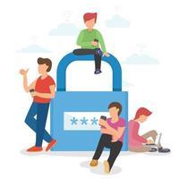grupo de personas y contraseña de clave de cifrado vector