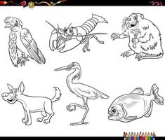 cartoon wild animals characters set coloring book page vector