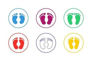Colorful Baby Footprints Icon Set vector
