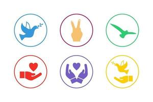 Colorful Peace Icon Set vector