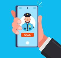 an urgent call to the police to report crimes flat vector illustration