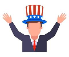 joyful American mat in patriotic hat vector