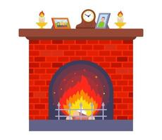cozy red brick fireplace home flat vector illustration