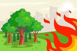 Forest fire near city concept vector