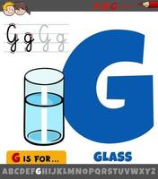 letter G from alphabet with cartoon glass of water vector
