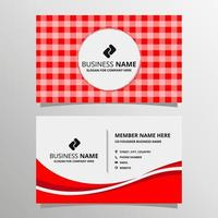 Modern Red Gingham Business Card Template vector