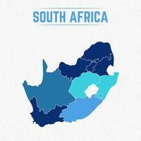 mapa detallado de sudáfrica con regiones vector