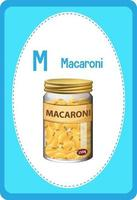 Alphabet flashcard with letter M for Macaroni vector