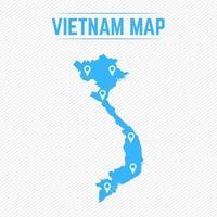 vietnam mapa simple con iconos de mapa vector