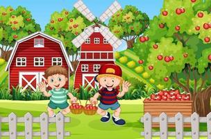 Farm scene with farmer boy harvests apples vector