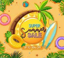 Super Summer Sale banner template vector