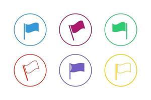 colorido conjunto de iconos de bandera ondulada vector