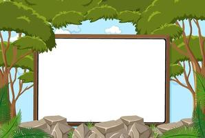 Empty board on sky background with leaves element vector