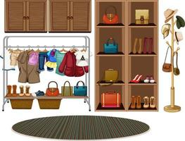 Clothes hanging on a clothesline with accessories on shelves on white background vector