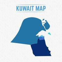 Kuwait Detailed Map With Regions vector