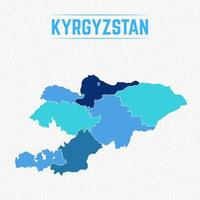 Kyrgyzstan Detailed Map With Regions vector