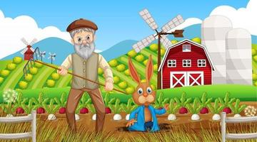 Farm at daytime scene with old farmer man and farm animals vector