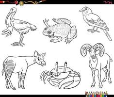 cartoon animals characters set coloring book page vector