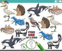one of a kind game for children with cartoon wild animals vector