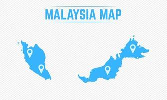 Malaysia Simple Map With Map Icons vector