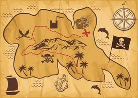 old pirate map of treasure island vector