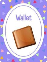 Vocabulary flashcard with word Wallet vector