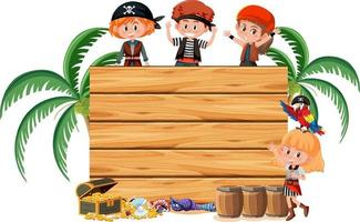 Many pirate kids with an empty banner isolated on white background vector