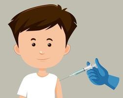 personaje de dibujos animados de un hombre recibiendo una vacuna vector