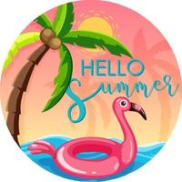 Hello Summer font with flamingo swimming ring banner isolated vector