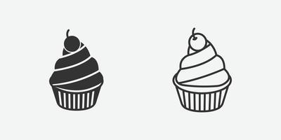 Cupcake icon vector illustration on grey background