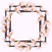 Marco cuadrado hecho de ramas de sauce. Corona de Pascua hecha de tallos de sauce. Ilustración plana de vector aislado sobre fondo blanco. diseño para invitaciones, postales, impresión.