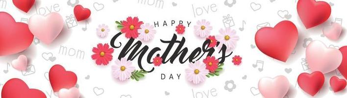 Mothers day banner background layout with Heart Shaped Balloons and flower.Greetings and presents for Mothers day in flat lay styling..Vector illustration template. vector