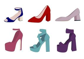 High heeled shoes set. Flat vector illustration. High Heeled Shoes