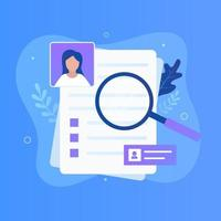 Curriculum vitae  and magnifying glass illustration concept vector
