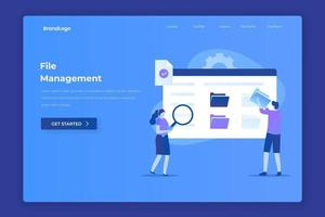 File management landing page illustration concept vector