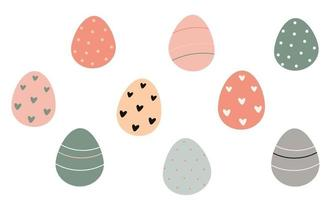 Decorated Easter eggs isolated on white background. Vector flat illustration