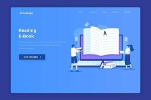 Ebook reading illustration concept vector