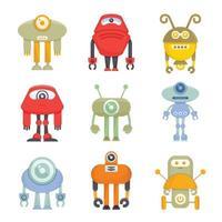 Robot Cartoon Character Icons set vector